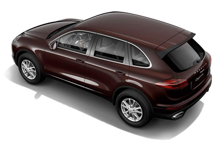 brown 2017 Porsche Cayenne overhead back side view