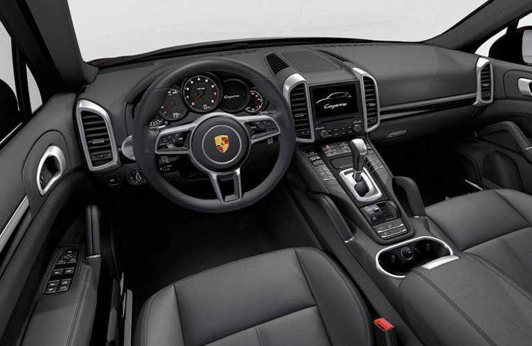 2017 Porsche Cayenne interior front cabin steering wheel and dashboard