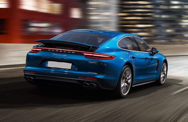 rear view of a blue 2017 Porsche Panamera