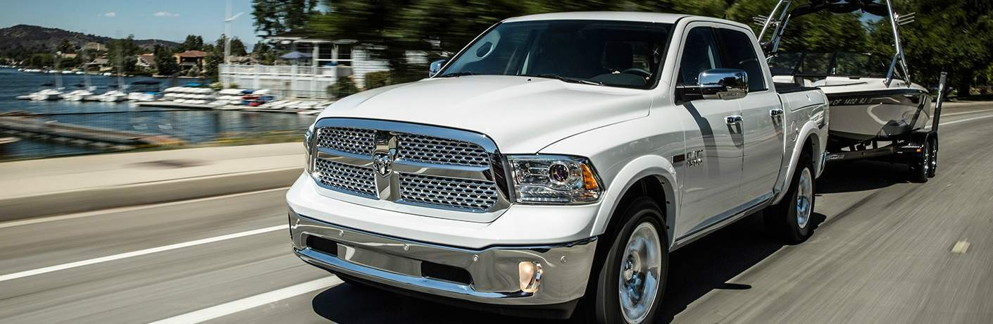 white RAM 1500 towing