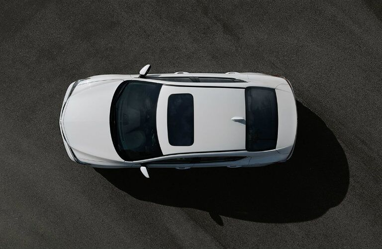 overhead view of a white Acura ILX