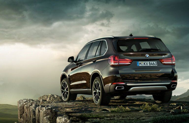 rear view of the 2017 BMW X5 on a cliff