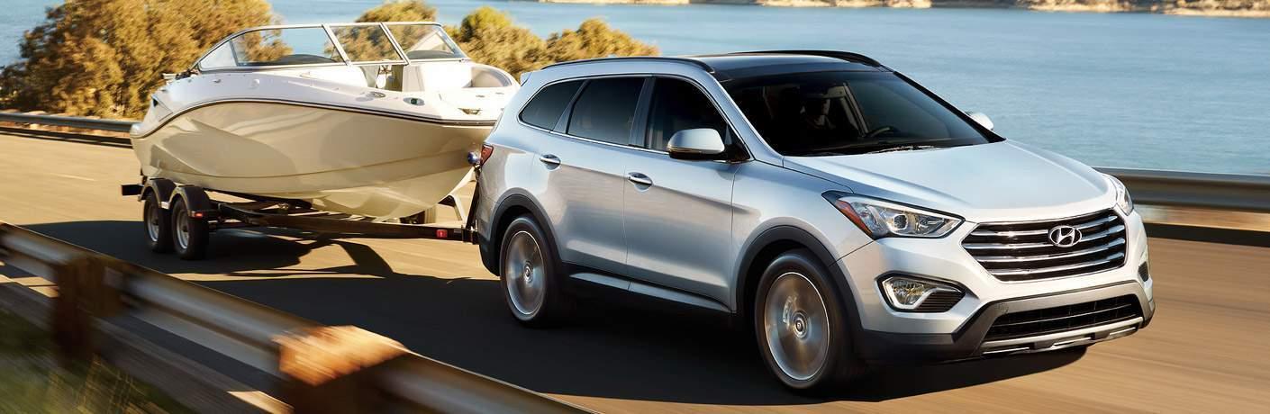 silver 2017 Hyundai Santa Fe towing