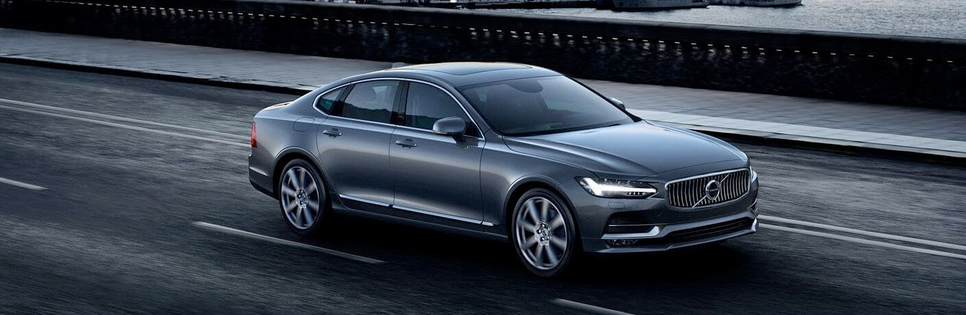 2018 Volvo S90 exterior front fascia and passenger side going fast on road