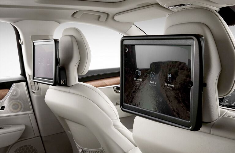 2018 Volvo S90 interior back cabin with screen on back of front seat