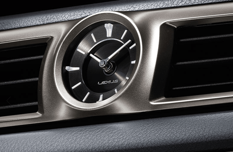Closeup imagery of analog clock in Lexus GS