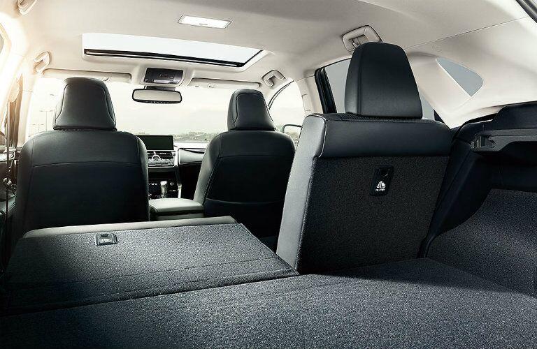 Back seat folded down inside Lexus NX