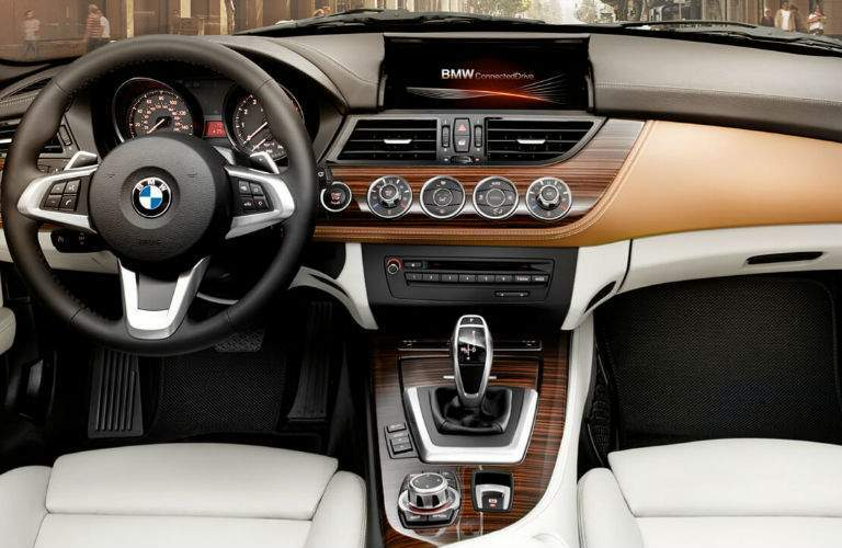 BMW Z4 Front Seat Interior Steering Wheel, Touchscreen, Gear Shifter and White Interior