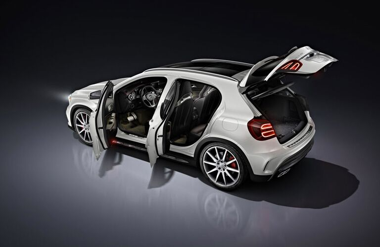 white Mercedes-Benz GLA250 with all doors open