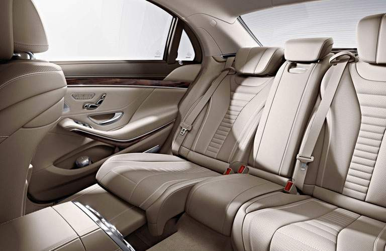 Tan 2017 Mercedes-Benz S-Class Rear Seat Interior with Reclining Seats