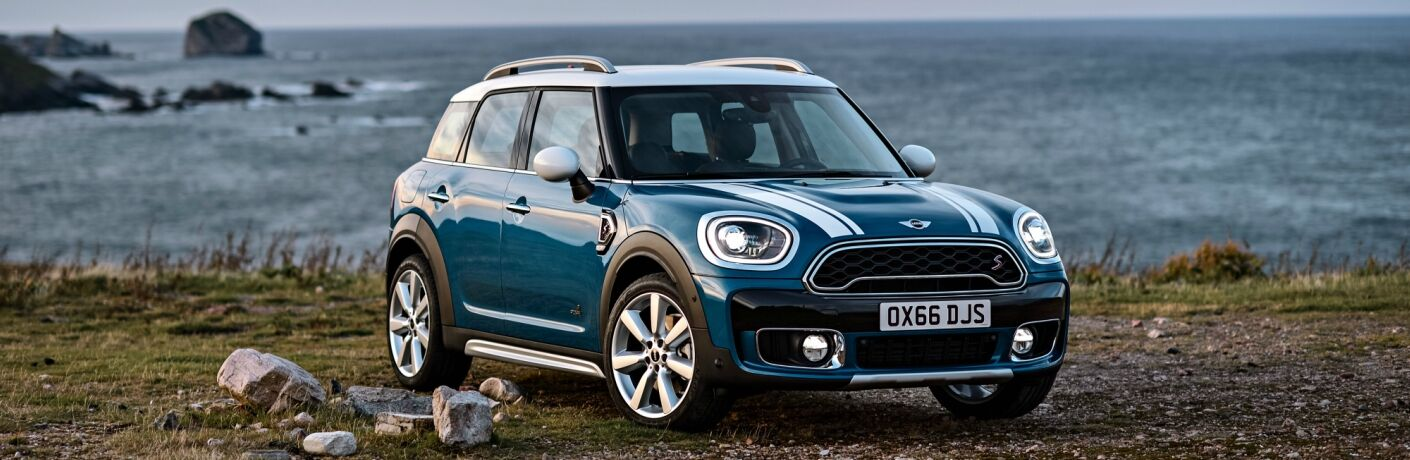 blue MINI Cooper Countryman front side view