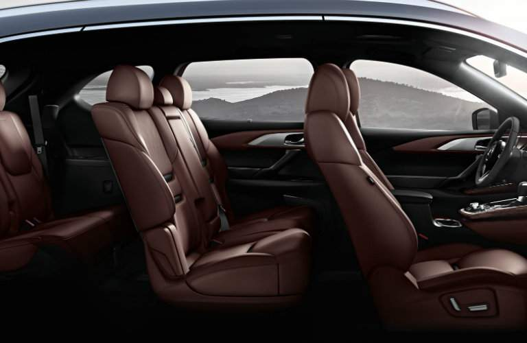 Brown Seats of All Three Rows of the 2018 Mazda CX-9
