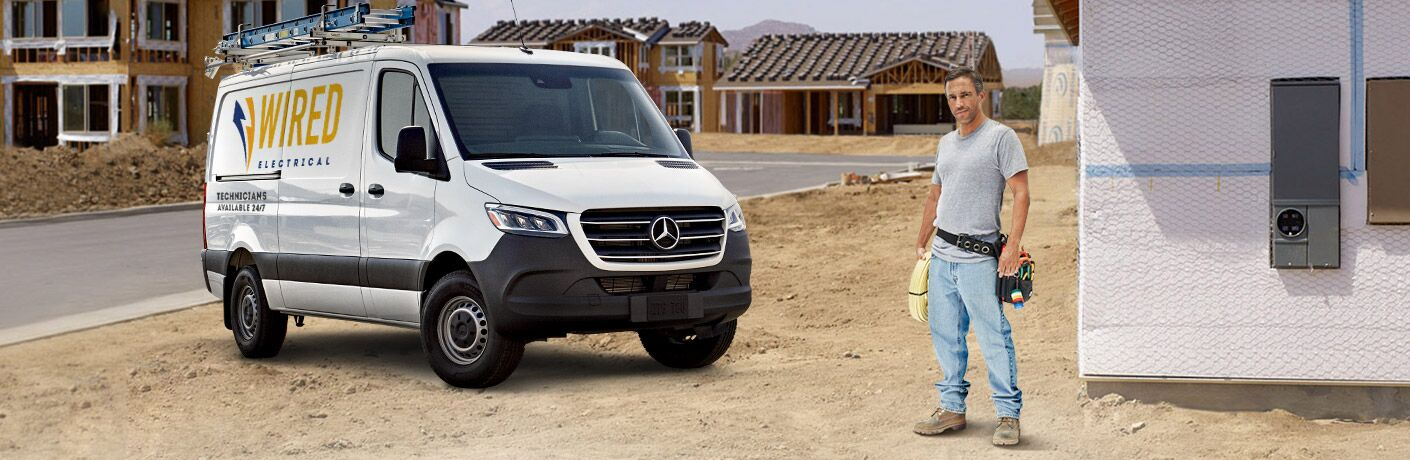 2019 Mercedes-Benz Sprinter Cargo Van with a man