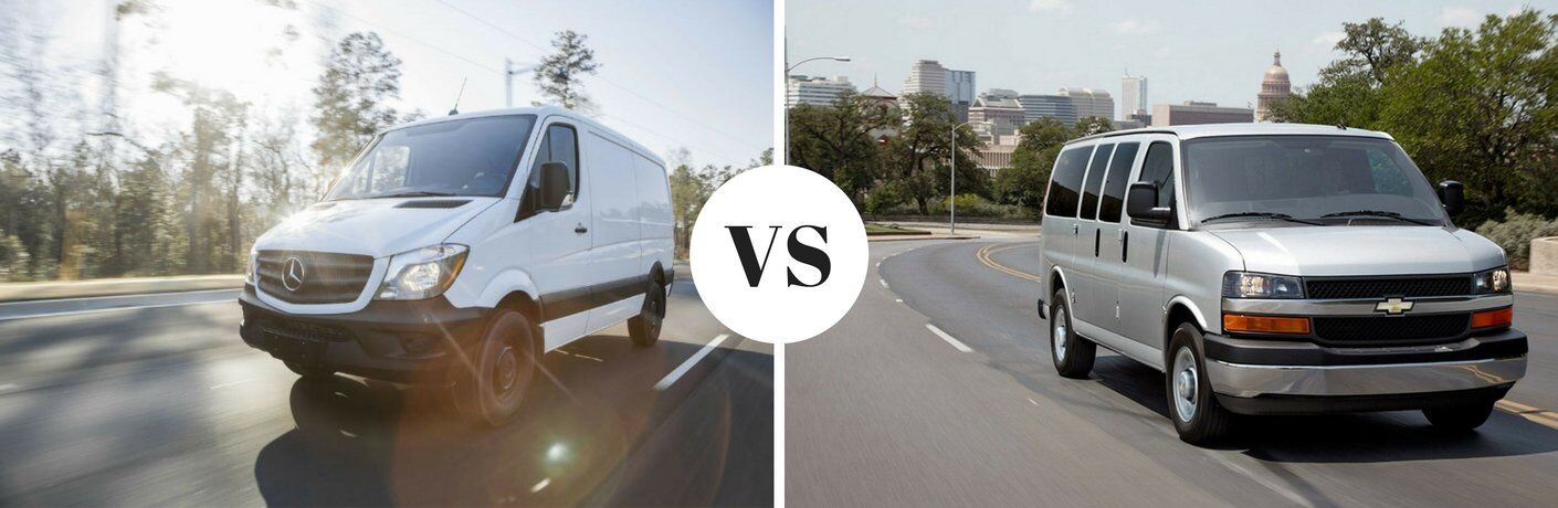 How does the Mercedes-Benz Sprinter Cargo Van compare to the Chevy Express?