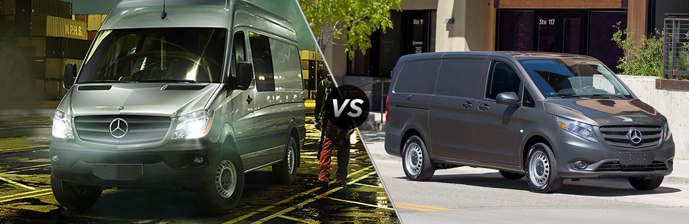 2017 mercedes-benz sprinter cargo van and 2017 mercedes-benz metris cargo van side by side