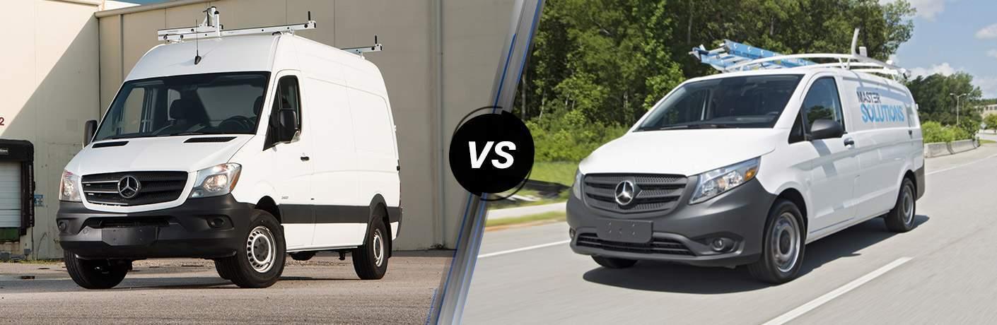 mercedes-benz sprinter worker cargo van and metris worker cargo van side by side