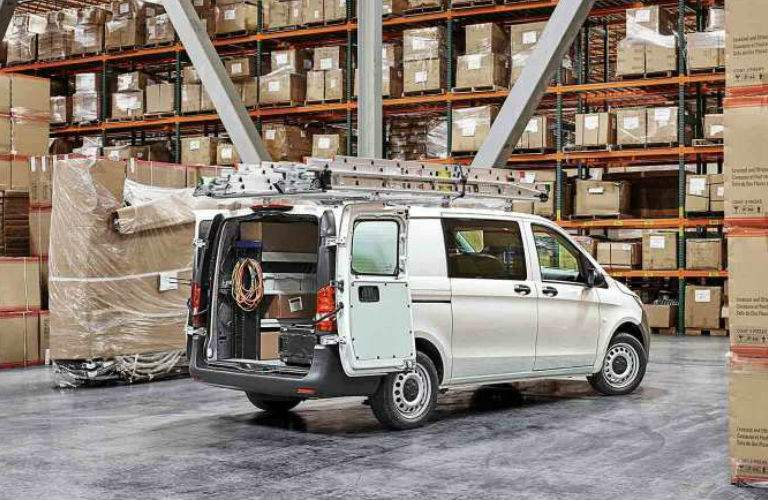 2017 mercedes-benz metris cargo van with rear doors open