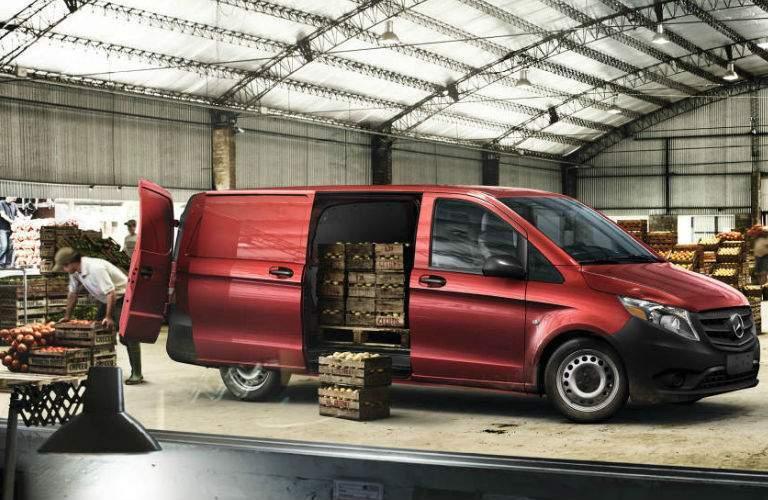 2017 mercedes-benz metris worker cargo van being loaded