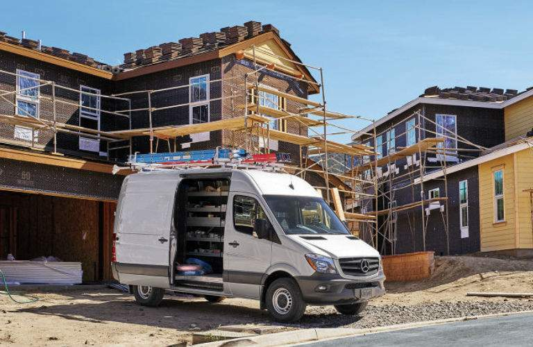 2017 mercedes-benz sprinter cargo van parked at construction site