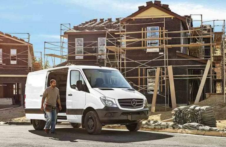 2017 mercedes-benz sprinter worker cargo van at construction site