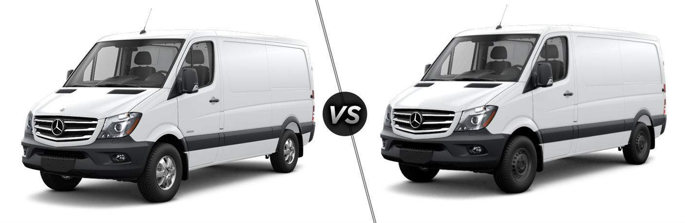 2017 mercedes-benz cargo van and worker cargo van side by side