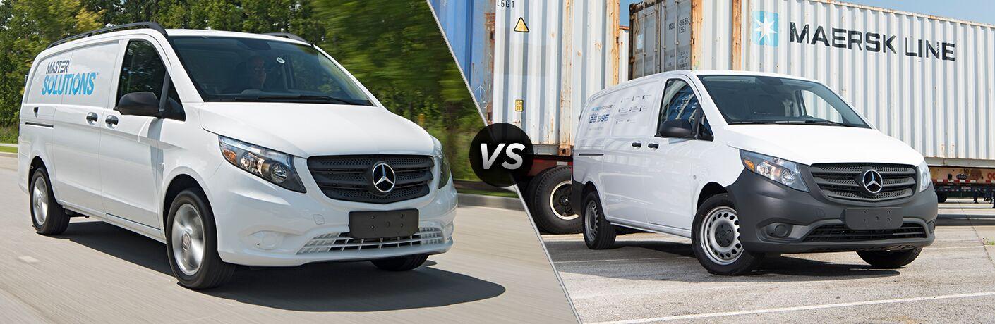 2018 mercedes-benz metris cargo van and worker metris cargo van side by side