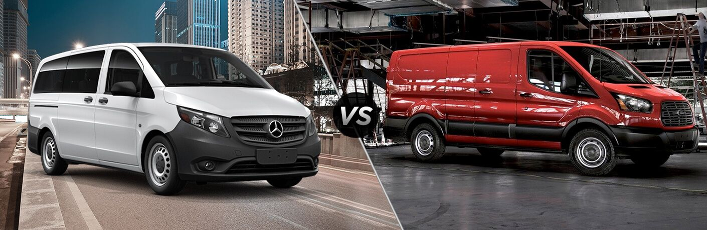 2018 mercedes-benz metris passenger van and ford transit van side-by-side