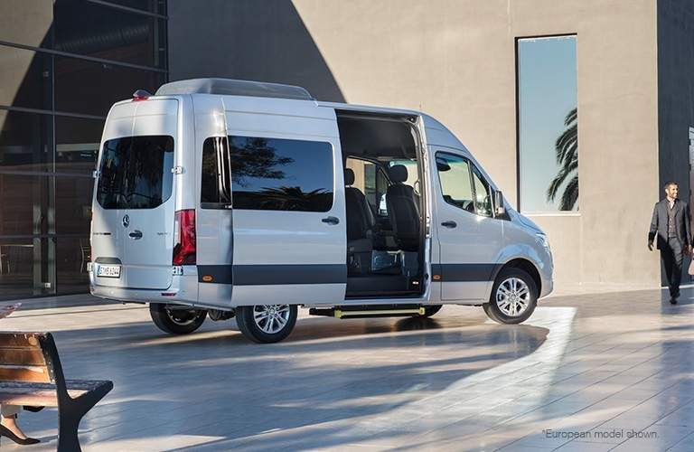 white 2018 mercedes-benz cargo van open door