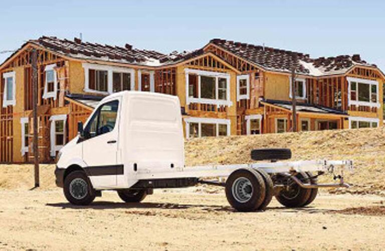 2018 mercedes-benz sprinter chassis cab rear view at construction sight