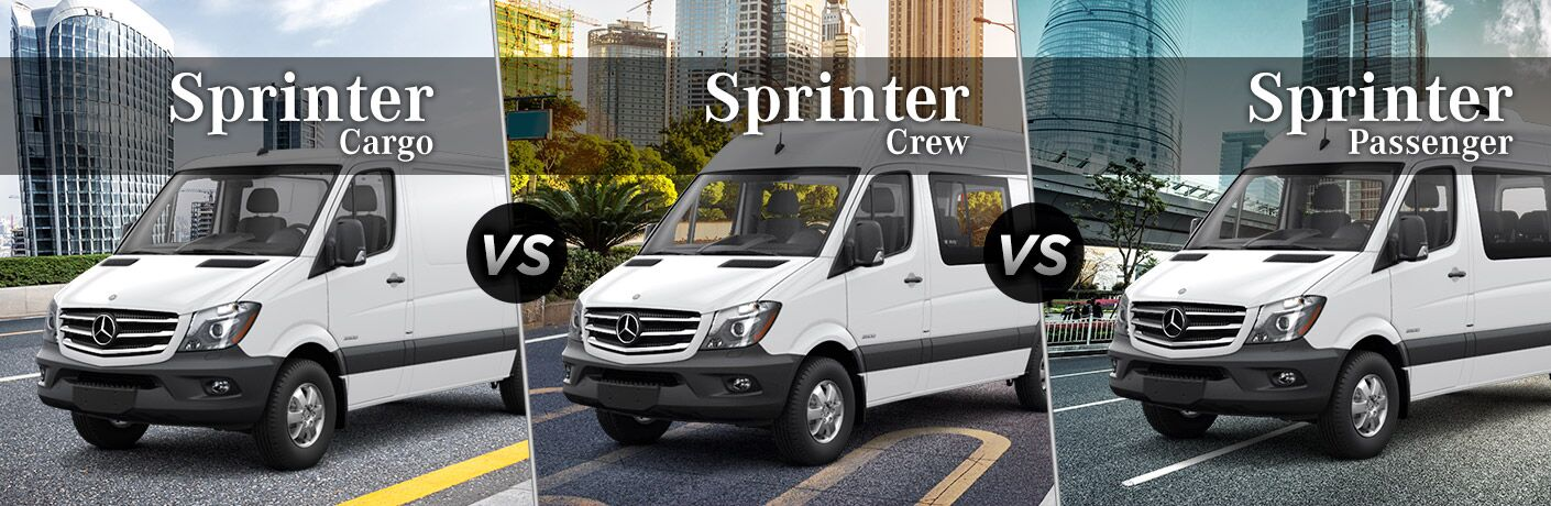 2018 mercedes-benz sprinter cargo crew and passenger van side by side