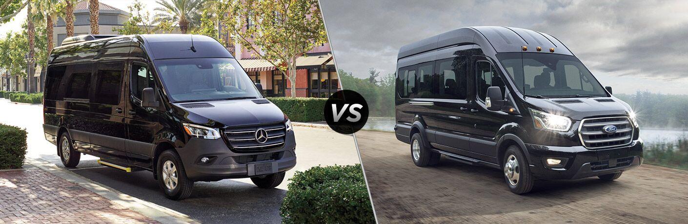 Black 2020 Mercedes-Benz Sprinter Van on City Street vs Black 2020 Ford Transit at a Park