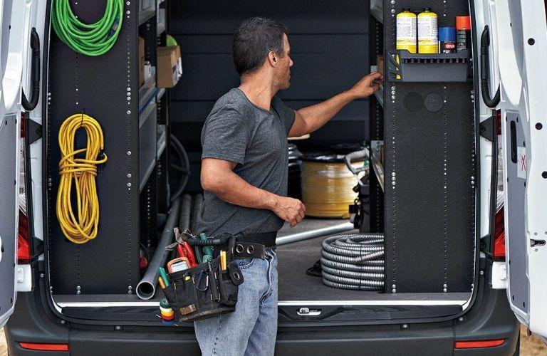 man unloading tools from 2020 Mercedes-Benz Sprinter 3500 Cargo Van