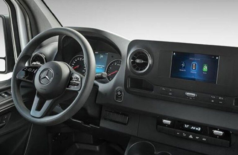 Interior driver area of the 2021 Mercedes-Benz Sprinter 1500 Cargo Van
