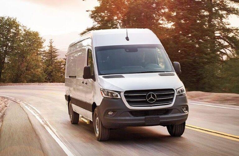 2020 Mercedes-Benz Sprinter Cargo Van front view on a road