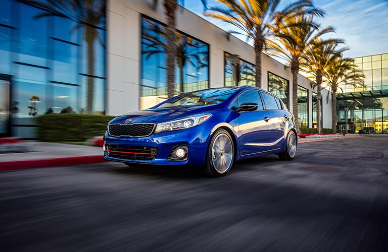 Blue 2017 Kia Forte5 Front Exterior on City Street