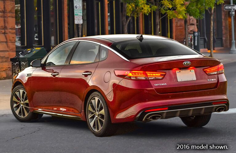Red 2016 Kia Optima Rear Exterior