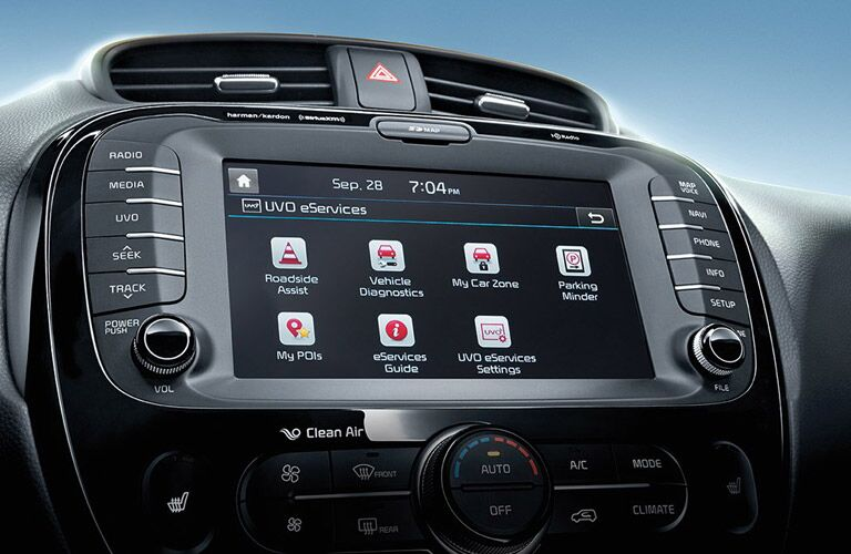 Close Up of 2017 kia Soul Kia UVO Touchscreen