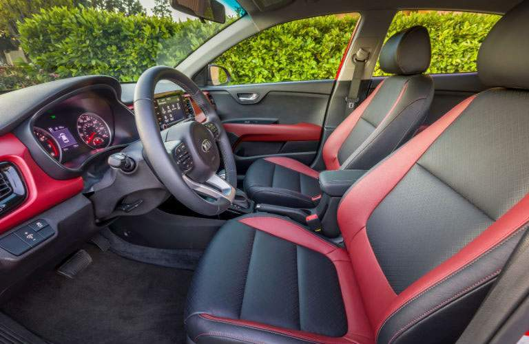2018 Kia Rio 5-Door Front Cabin Space with Red and Black Interior