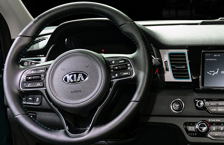 2019 Kia Niro steering wheel and driver gauges
