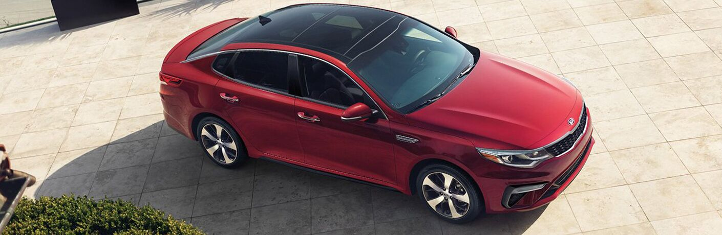 View of the 2019 Kia Optima in red from above