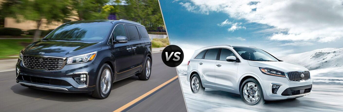 2019 Kia Sedona exterior front fascia and drivers side vs 2019 Kia Sorento exterior front fascia and passenger