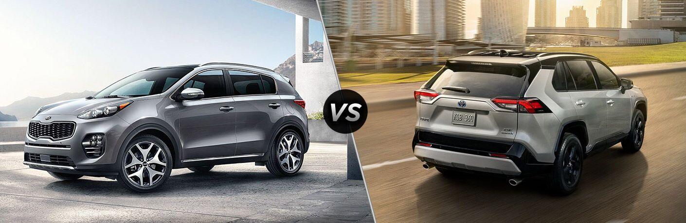 Split screen images of the 2019 Kia Sportage and 2019 Toyota RAV4