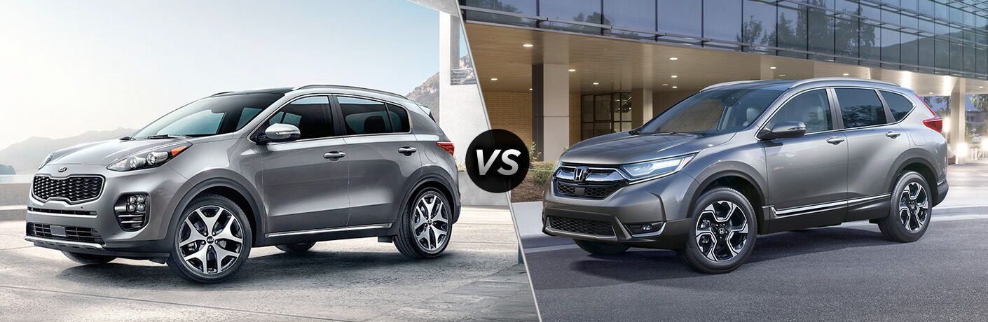 Split screen images of the 2019 Kia Sportage and the 2019 Honda CR-V