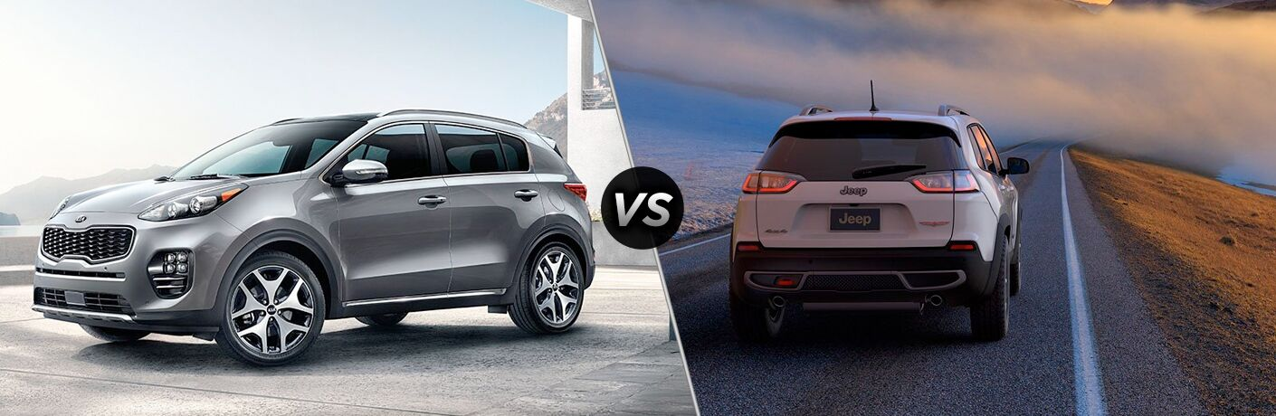 2019 Kia Sportage exterior front fascia and drivers side vs 2019 Jeep Cherokee exterior back fascia