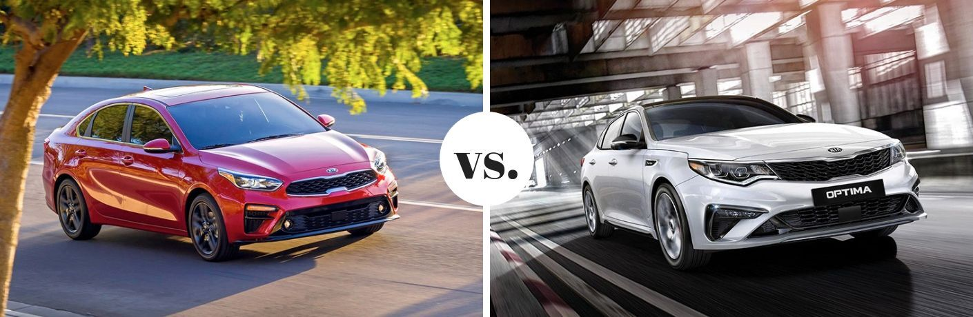 2019 Kia Forte exterior front fascia and passenger side vs 2019 Kia Optima exterior front fascia and passenger side