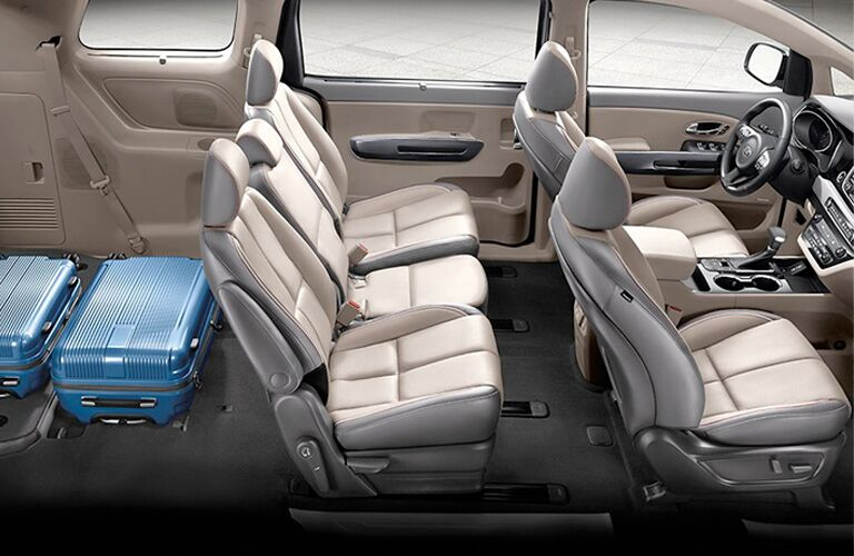 2020 Kia Sedona with third row of seats folded down and suitcases where the seats were