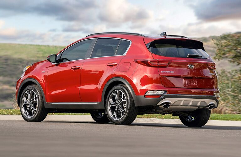 Rear view of red 2020 Kia Sportage