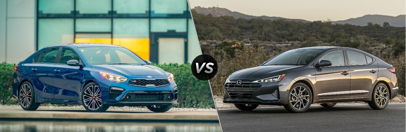 Blue 2020 Kia Forte vs grey 2020 Hyundai Elantra
