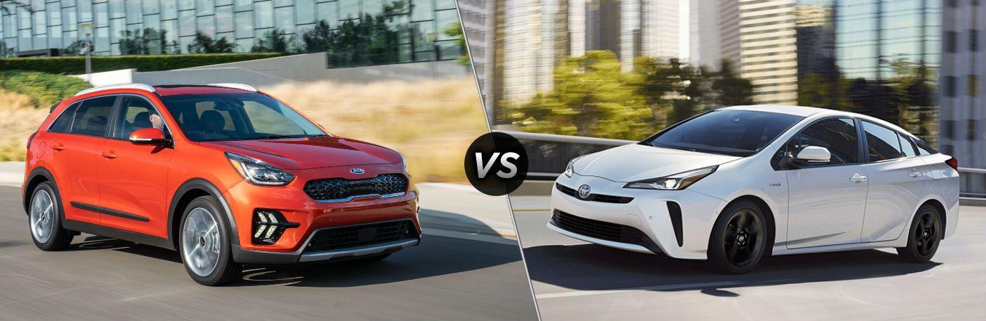Red 2020 Kia Niro vs white 2020 Toyota Prius