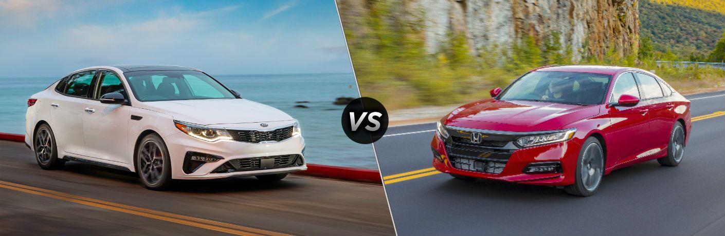 White 2020 Kia Optima vs red 2020 Honda Accord